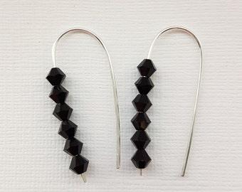 Black Swarovski crystal threader earrings / sterling silver earrings / dangly earrings / bridesmaid gift / gift for her