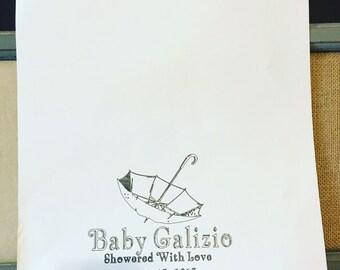 Umbrella thumb print guest book, baby shower guest book, thumb prints