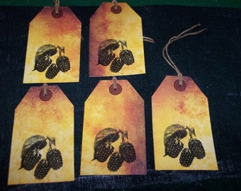 FIVE Large Vintage Blackberry Primitive Hang Tags / Gift tags