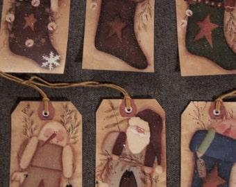 SIX Large Primitive Christmas Holiday Hang / Gift Tags