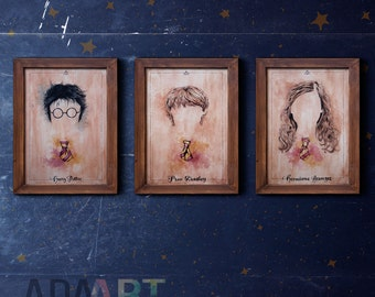 Harry Potter illustration 3 pack limited edition watercolor copy Hermione Granger Ron Weasley