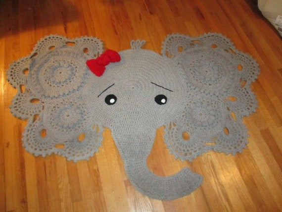 Crochet Elephant Rug : Elephant nursery crochet rug by UnderTheCoversQuilts on Etsy