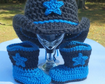 Crochet Cowboy Hat and Boots; Crochet Photo Props