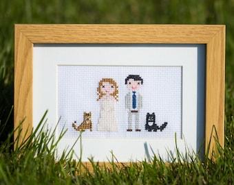 Custom Cross Stitch Portrait Handcrafted Wedding/Couple Gift