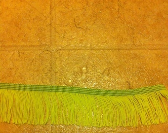 """2"""" Wide Lime Green Fringe By The Yard"""
