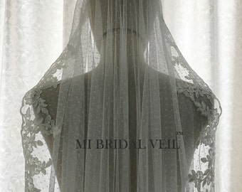 Soft Dotted Tulle Lace Veil. Vintage Inspired Lace Veil. Mantilla or with Blusher. Fingertip Bridal Veil, Waltz, Chapel,Cathedral Veil