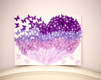 Butterfly Heart Canvas, Purple, Purple Ombre, Butterflies Wall Art, Nursery decor, Baby Room