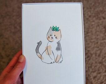 Multi-Colored Kitty 5x7 Original Watercolor