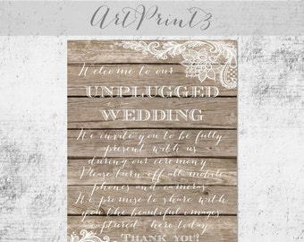 Unplugged Wedding Printable Sign, Rustic Wedding Unplugged Sign, Barn Wood Wedding Sign