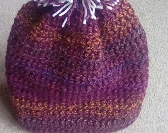 SALE Handmade burgundy mix pom pom hat adult size