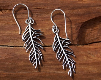 "Boho Earrings ""Little Feather"" Silver, Hipster Feather Earrings"