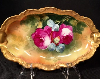 "Handpainted Antique Coronet Limoges Small Dish Signed by ""Rancon."""