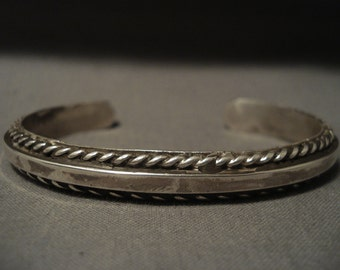 Important Vintage Navajo Jimmie King Silver Bracelet Old