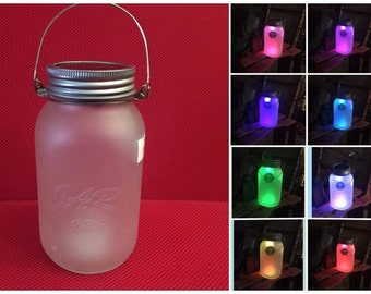 Etched Mason Jar with Solar Powered Color Changing LED Lid Light and Wire Hanger Lantern Patio Wedding Party Night Light Mood Light
