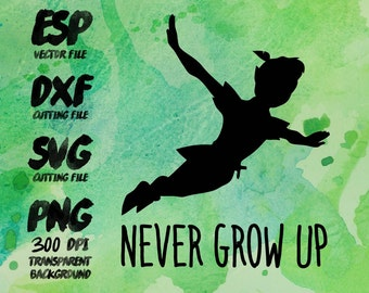 Peter pan Never grow up  Clipart , SVG Cutting , ESP Vectors files , T shirt , iron on , sticker ,Personal Use