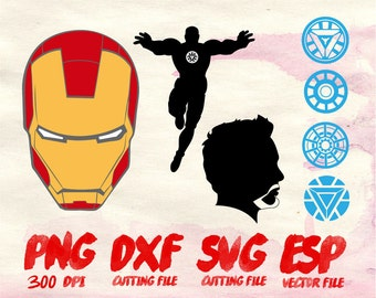 Ironman  Clipart , SVG Cutting , ESP Vectors files , T shirt , iron on , sticker ,Personal Use