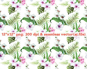 Hand painted tropical plants seamless vector Clipart, Digital Download ,Quotes Scrapbooking, Supplies,Vectors files ,Personal Use