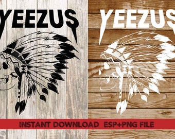yeezus indian skull clipart ,T shirt, iron on , sticker, Vectors files ,Personal Use