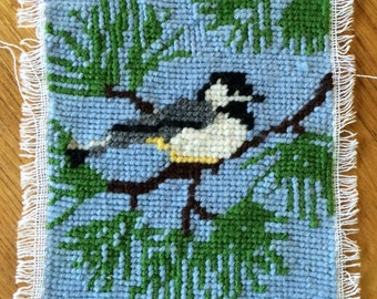 Needlepoint Chickadee in a Tree