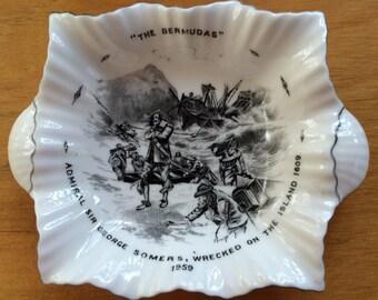 Vintage Dish Commemorating Sir George Somers' Colonization of Bermuda