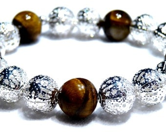 Silver and brown bracelet