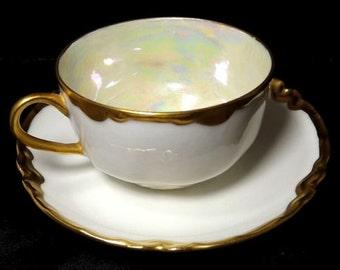 Antique Haviland France Ranson Cup & Saucer Porcelain Set Gold Trim, Cup Pearlized Inside