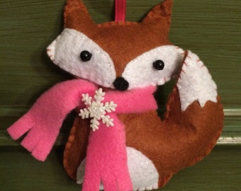 Felt Fox Christmas Ornament
