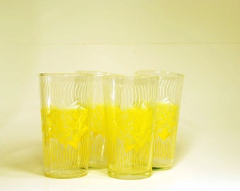 Sale ***Vintage Yellow Rose Drinking Glasses***Sale