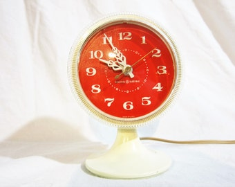 General Electric Red and White Pedestal Alarm Clock 1960s