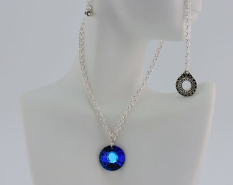 Cobalt Blue Crystal Chain Necklace - N2554