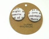 book page fabric button earrings