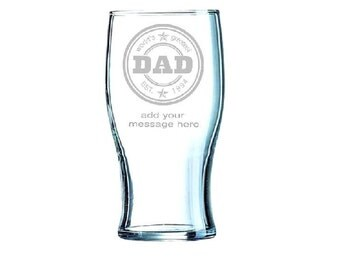 Fathers day greatest dad beer Glass personalised and engraved, with optional gift tag