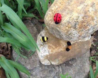Needle Felted Ladybugs-Bees-Wooly Bear Caterpillar Magnets