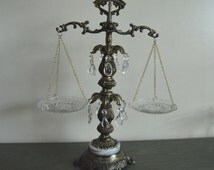 Vintage Brass and Crystal Scales of Justice