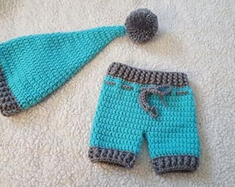 Cutest Baby Pixie/Elf Hat with Matching Shorts