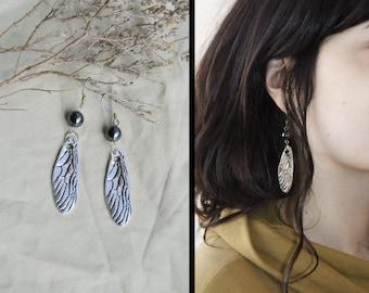 Fairy wings earrings hematite