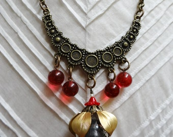 Brass Red Flower Blossom Assemblage Bib Necklace - NRU246