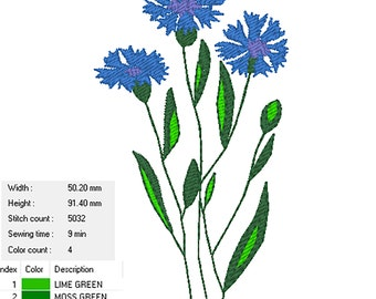 Cornflower: Machine embroidery design
