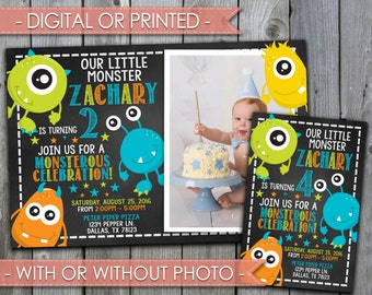 Monster Invitation, Monster Invite, Monster Birthday Invitation, Monster Birthday Invite, Chalkboard, Boy, Digital File, Printed #301