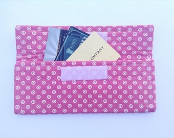 Pink Targets, Circles Wallet, Coupon Holder, Receipts Organizer- Made to Order