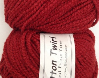 Crystal Palace Cotton Twirl Yarn, Color- Chili; Blend-Cotton & Nylon; Weight-Worsted