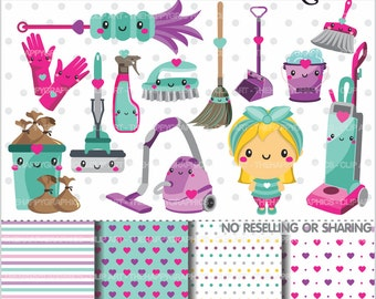 80%OFF - Clean Up Clipart, Clean Up Graphics, COMMERCIAL USE, Chore Clipart, Planner Accessories, Housekeeping, Organizing, Clean