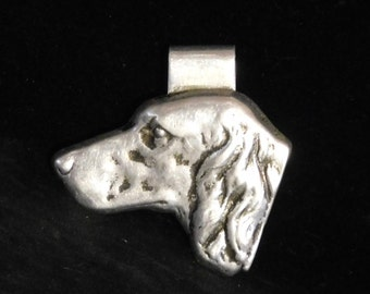 Bruce Fox aluminum money clip--setter dog