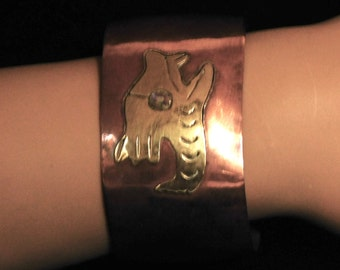 Mexican copper and brass bracelet with abalone