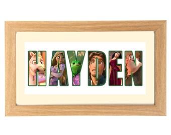 DISNEY'S TANGLED Personalised Name Print Art - Gift Ideas - Framed Artwork Print - Rapunzel - Flynn Rider - Gothel - Pascal - Maximus