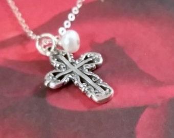 Ornate Sterling Silver Cross Pendant Necklace