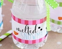ON SALE Melted Snowman Printable Water Bottle Wrappers, Melting Snowman Party Bottle Labels, Instant Download, Snowman Party Water Bottle Wr