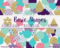 BASIC SHAPES CLIPART Commercial Use Clip Art Aqua Purple & Gold Circles Flowers Triangles Hexagons Rain-Drops Hearts Moons Clouds and More