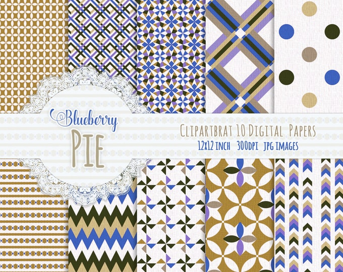 MUSTARD & BLUE Digital Paper Pack Commercial Use Digital Background Papers Blueberry Pie Paper Pack Geometric Printable Background Papers