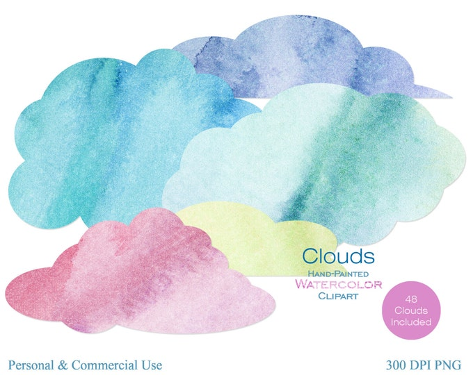 WATERCOLOR CLOUDS Clipart Commercial Use Cloud Clipart Watercolor Sky Clipart 48 Fluffy Clouds Pink Purple Blue Clouds Digital Stickers